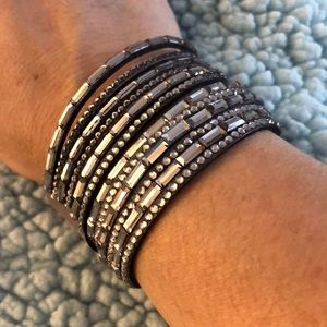 Jewelry - Black or khaki faux leather & rhinestone bracelet
